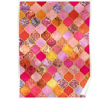 Hot Pink, Gold, Tangerine & Taupe Decorative Moroccan Tile Pattern Poster