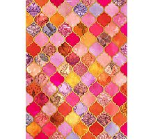 Hot Pink, Gold, Tangerine & Taupe Decorative Moroccan Tile Pattern Photographic Print