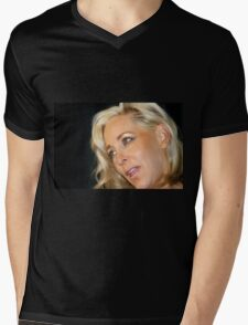 Blond Woman Mens V-Neck T-Shirt