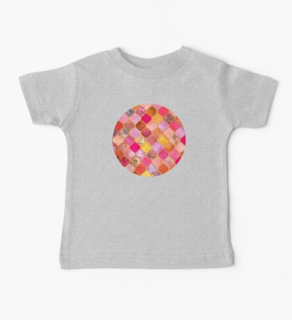Hot Pink, Gold, Tangerine & Taupe Decorative Moroccan Tile Pattern Baby Tee