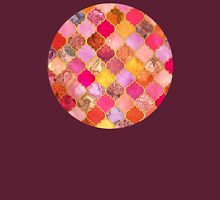 Hot Pink, Gold, Tangerine & Taupe Decorative Moroccan Tile Pattern Womens Fitted T-Shirt