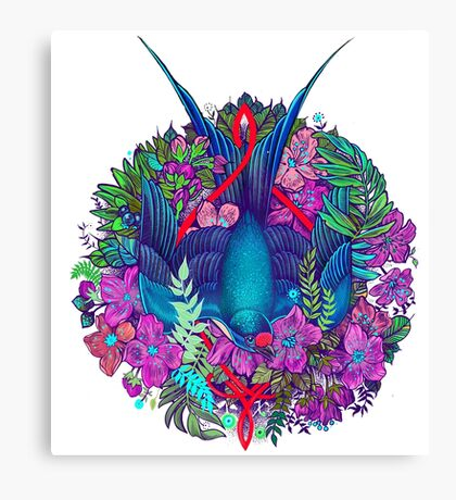 Bird and blossoms color Canvas Print
