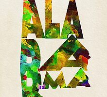 Alabama Typographic Watercolor Map by A. TW