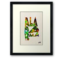 Alabama Typographic Watercolor Map Framed Print