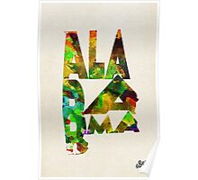 Alabama Typographic Watercolor Map Poster