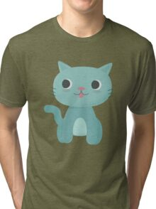 Cute and Happy Cat Tri-blend T-Shirt
