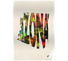 Arizona Typographic Watercolor Map Poster