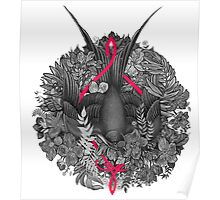 Bird and blossoms   black and grey Poster