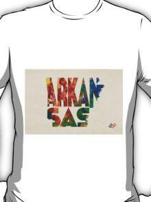 Arkansas Typographic Watercolor Map T-Shirt