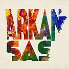 Arkansas Typographic Watercolor Map by A. TW