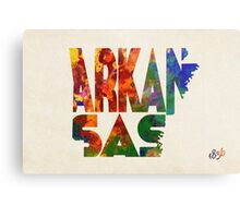 Arkansas Typographic Watercolor Map Metal Print