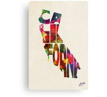 California Typographic Watercolor Map Metal Print