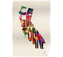California Typographic Watercolor Map Poster