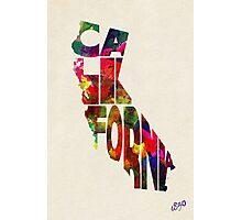 California Typographic Watercolor Map Photographic Print