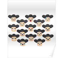 Latino Mariachi Emoji 15 Different Facial Expressions Poster