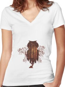 Owl and Autumn Forest Landscape Women's Fitted V-Neck T-Shirt