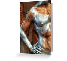 Silver male mannequin in storage. Greeting Card