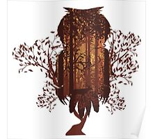 Owl and Autumn Forest Landscape Poster