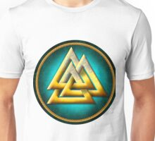 Norse Valknut - Gold and Teal Unisex T-Shirt