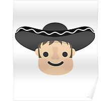 Latino Mariachi Emoji Smiling Happy Face Poster