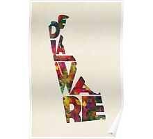 Delaware Typographic Watercolor Map Poster