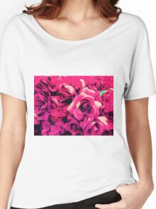 drawing and painting pink roses texture background Women's Relaxed Fit T-Shirt