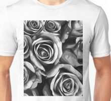 drawing and painting roses texture in black and white Unisex T-Shirt