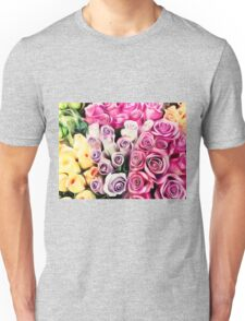 pink purple and yellow roses painting background Unisex T-Shirt