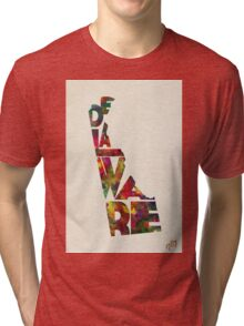 Delaware Typographic Watercolor Map Tri-blend T-Shirt