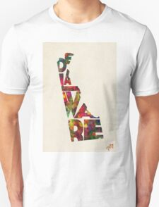 Delaware Typographic Watercolor Map Unisex T-Shirt