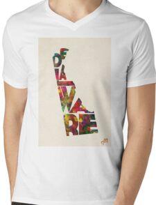 Delaware Typographic Watercolor Map Mens V-Neck T-Shirt