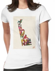 Delaware Typographic Watercolor Map Womens Fitted T-Shirt