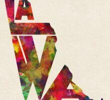 Delaware Typographic Watercolor Map Sticker