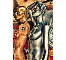 Bronze and silver female mannequins in storage. Photographic Print