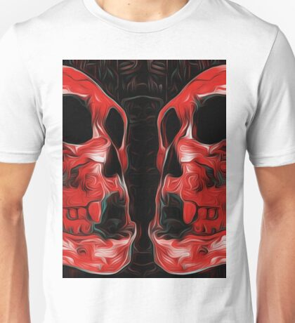 red skull with black background Unisex T-Shirt