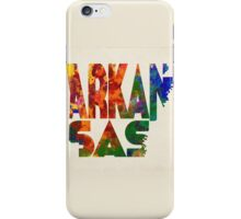 Arkansas Typographic Watercolor Map iPhone Case/Skin