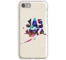 Alaska Typographic Watercolor Map iPhone Case/Skin