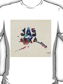Alaska Typographic Watercolor Map T-Shirt
