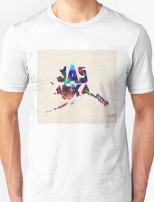 Alaska Typographic Watercolor Map T-Shirt