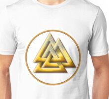 Norse Valknut - Gold and White Unisex T-Shirt