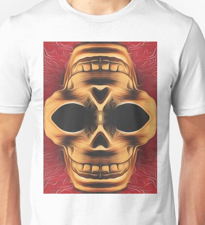 drawing and painting brown skull with red background Unisex T-Shirt