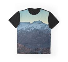 Sunset on a Snow Covered Mountain Photography Print Graphic T-Shirt