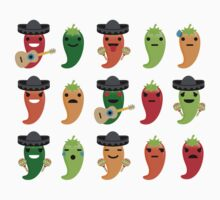Spicy Chili Emoji 15 Different Facial Expressions One Piece - Short Sleeve