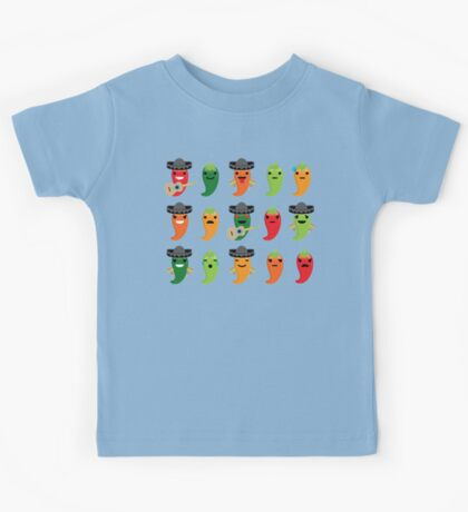 Spicy Chili Emoji 15 Different Facial Expressions Kids Tee