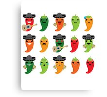 Spicy Chili Emoji 15 Different Facial Expressions Canvas Print