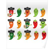 Spicy Chili Emoji 15 Different Facial Expressions Poster