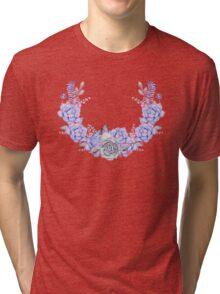 Boho Watercolor Succulents Wreath Tri-blend T-Shirt