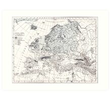 Europa, eis age old map from 1884 Art Print