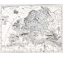 Europa, eis age old map from 1884 Photographic Print