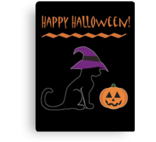 Halloween Witch Cat and Pumpkin Canvas Print